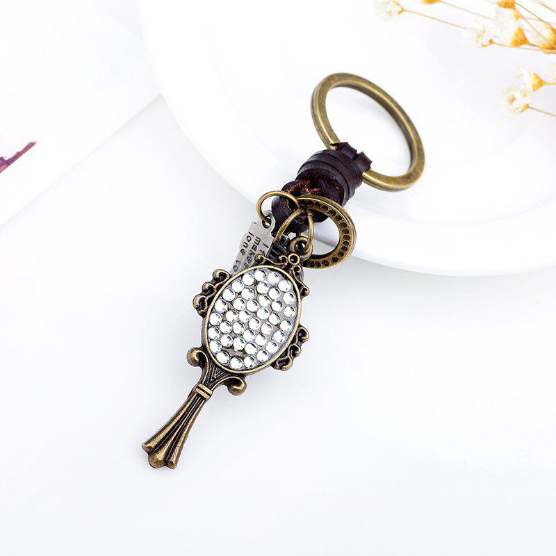 Mirror Set Auger Leather Hand Woven Keyring - COPPER