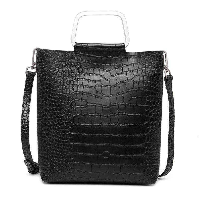 Fashion Crocodile Tattoo Bags Casual Bag with One-Shoulder Bag - BLACK
