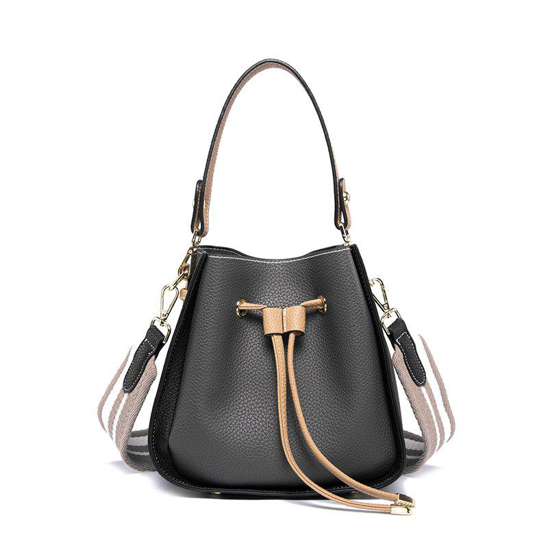 Single Shoulder Lady Big Bag Simple Carry - BLACK / LEATHER BAND