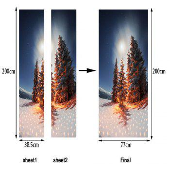 DSU Nighscape of Christmas Tree Wall Sticker Mural Bedroom Door Poster Home Decor - MIX COLOR MIX COLOR