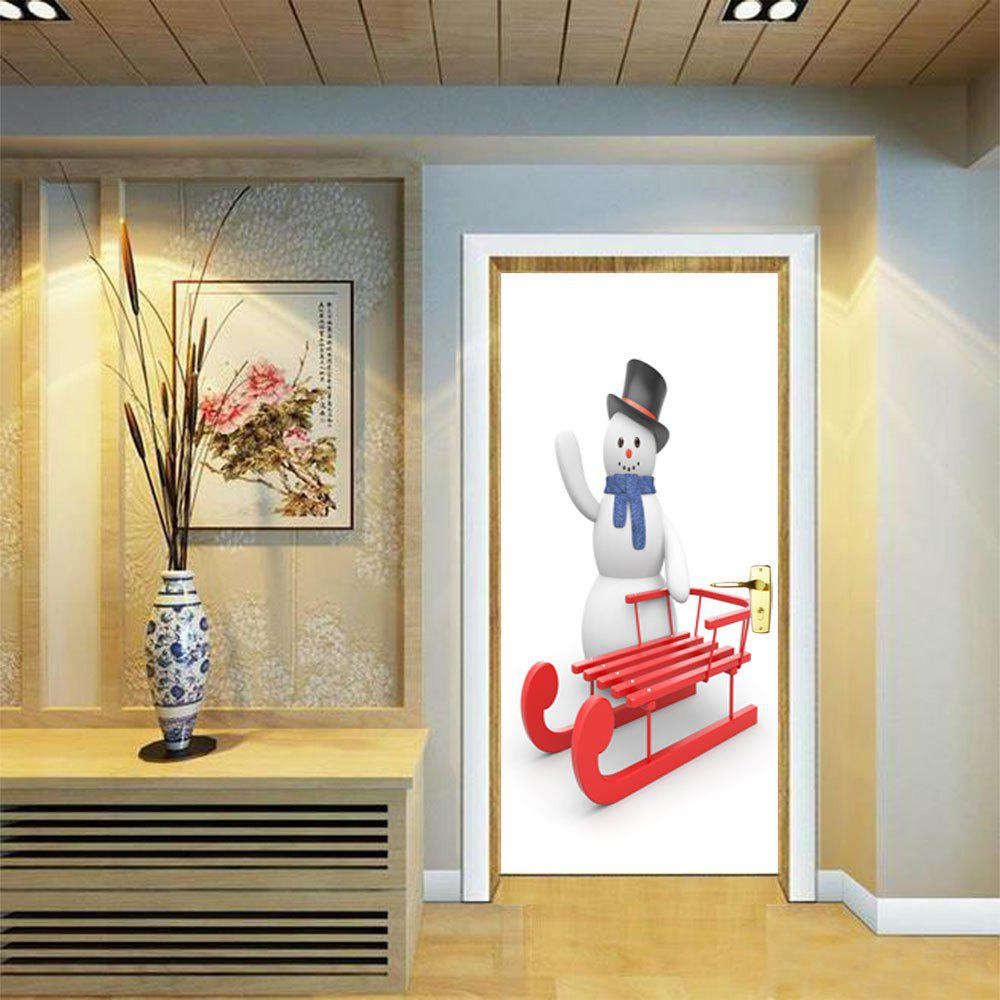 DSU Christmas Snowman and Sleigh Wall Sticker Mural Bedroom Door Poster Home Decor - MIX COLOR 77 X 200 CM