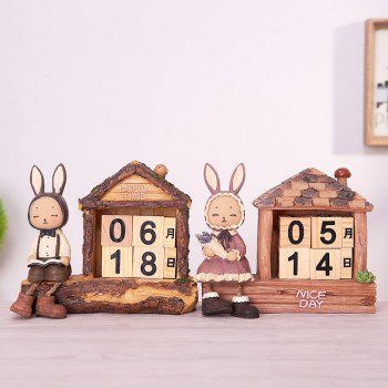 Creative Setting Lapin Desktop Calendrier Décoration Novel - Papaye MALE RABBIT