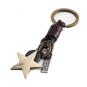 Men's Key Ring Star Pattern Punk Retro Style Key Ring Accessory - BRONZED BRONZED