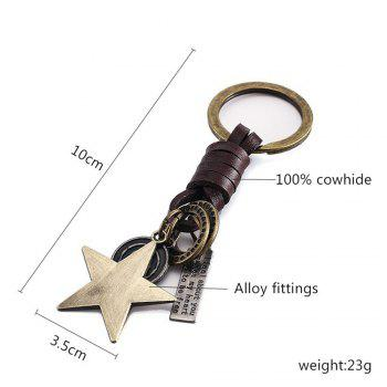 Men's Key Ring Star Pattern Punk Retro Style Key Ring Accessory -  BRONZED