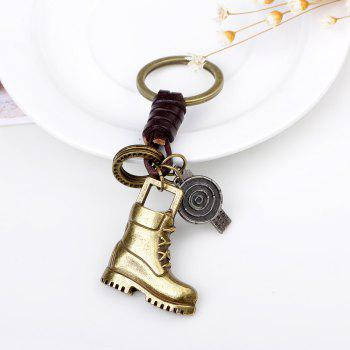 Alloy Bronze Shoes Leather Key Chain - GOLD