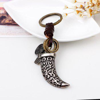 Punk Style Alloy Leather Hand Woven Knife Shaped Keyring - SILVER WHITE A