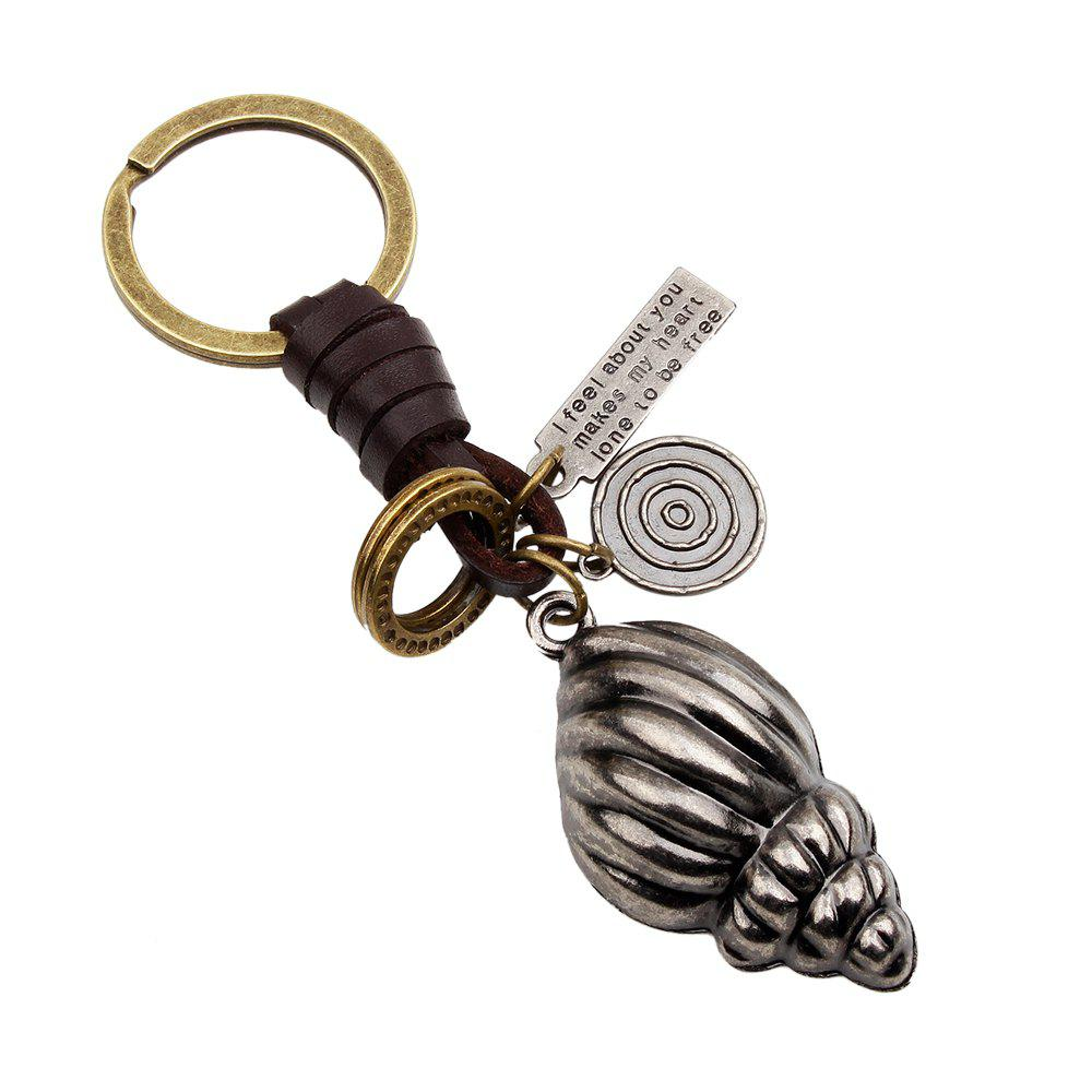 Alloy Conch Leather Hand Woven Key Chain - SILVER WHITE A