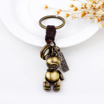 Punk Cute Teddy Bear Doll Hand Woven Key Chain -  GOLD