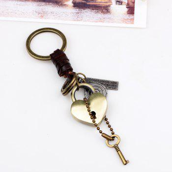 Punk Style Love Metal Heart  Keyring -  GOLD