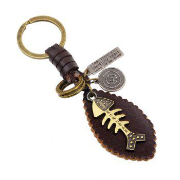 Punk Style Alloy Fishbone Shaped Hand Woven Key Chain - GOLD GOLD