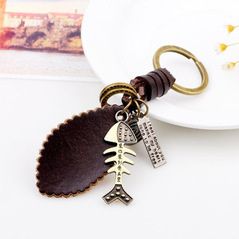 Punk Style Alloy Fishbone Shaped Hand Woven Key Chain - GOLD