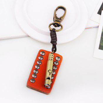 Punk Style Creative Leather Rivet Whistle Key Chain - COPPER