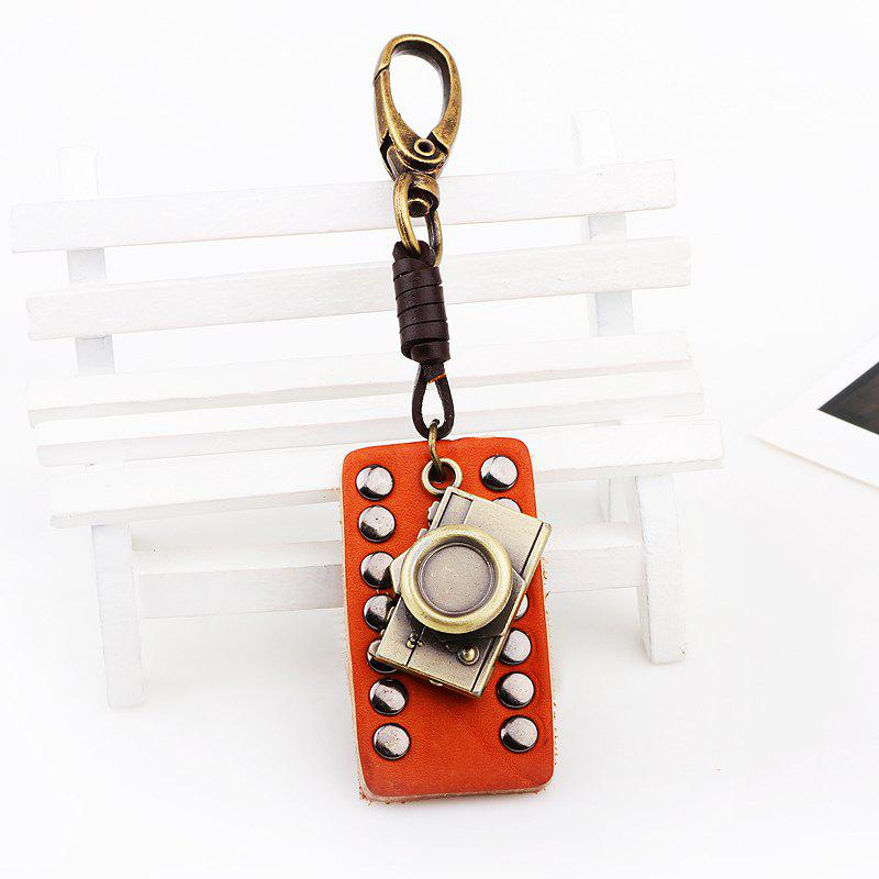Rectangular Leather Rivet Antique Camera Key Chain - GOLD