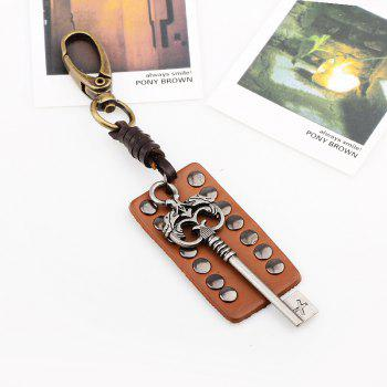 Leather Rivet Archaize Key Keyring - GOLD