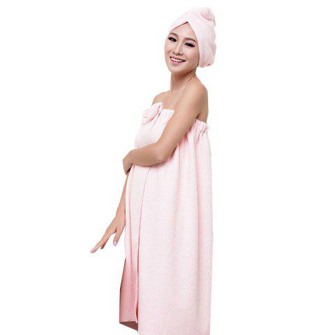 Bath Towel Cap Set Soft Sweet Bowknot Shower Accessories 2pcs - PINK