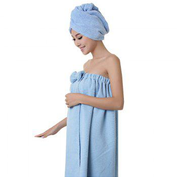 Bath Towel Cap Set Soft Sweet Bowknot Shower Accessories 2pcs - BLUE BLUE