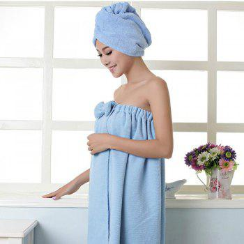 Bath Towel Cap Set Soft Sweet Bowknot Shower Accessories 2pcs -  BLUE