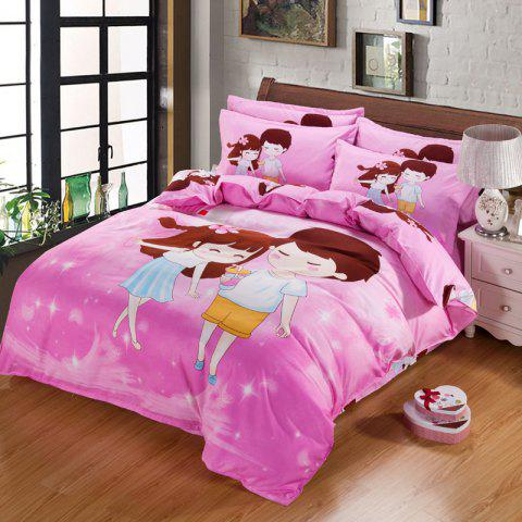 Autumn  Lovers Pattern Bedding Article Four Piece Suit - PINK DOUBLE