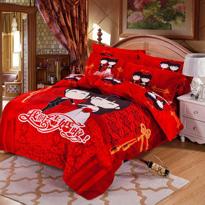 Autumn China Love Pattern Bedding article Four piece suit - FLAME DOUBLE