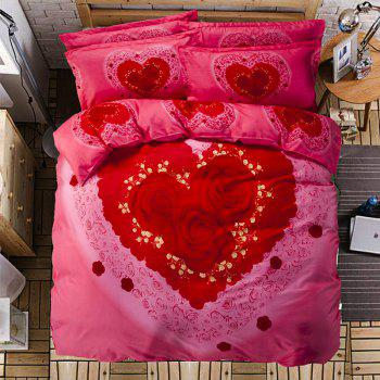 Autumn Gules Love Pattern Bedding article Four piece suit - FLAME DOUBLE