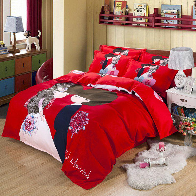 Autumn China  Gules Pattern Bedding article Four piece suit - FLAME DOUBLE