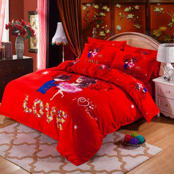 Autumn Loving life Pattern Bedding article Four piece suit - FLAME FLAME