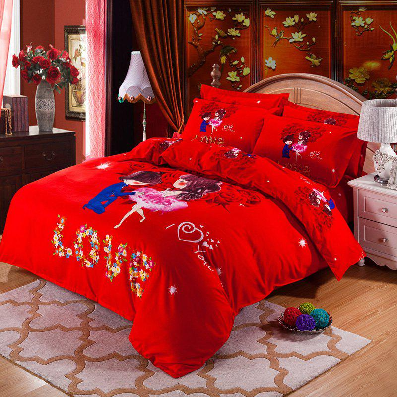 Autumn Loving life Pattern Bedding article Four piece suit - FLAME DOUBLE
