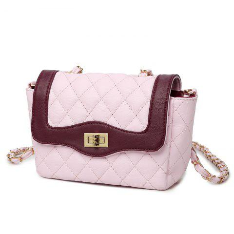 A Single Shoulder Bag with A Chain Lock and A Cover - PINK