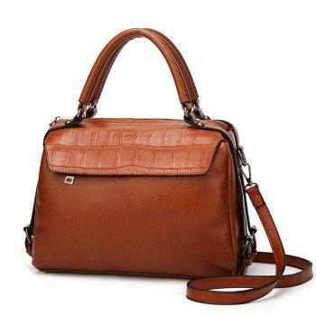 The Oil Wax Leather Vintage Fashion Style with A Handbag with A Multi-Functional Bag - BROWN BROWN