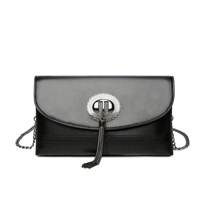 Tassel Leisure Shoulder Bag - BLACK