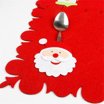 Santa Christmas Table Mat Knives and Forks Decoration - RED