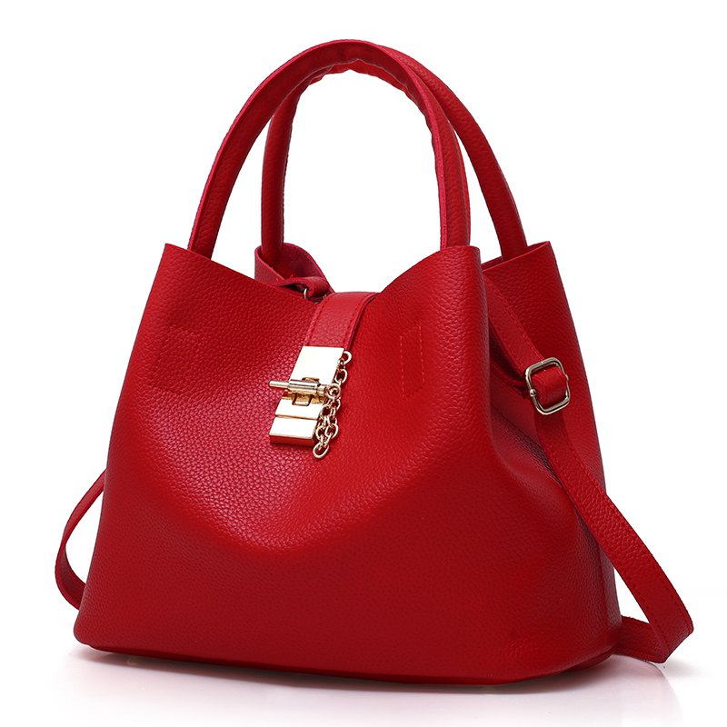 2017 Fashion Bucket Bag Europe and the United States Wind Handbag Leisure wild Messenger Bag - RED VERTICAL