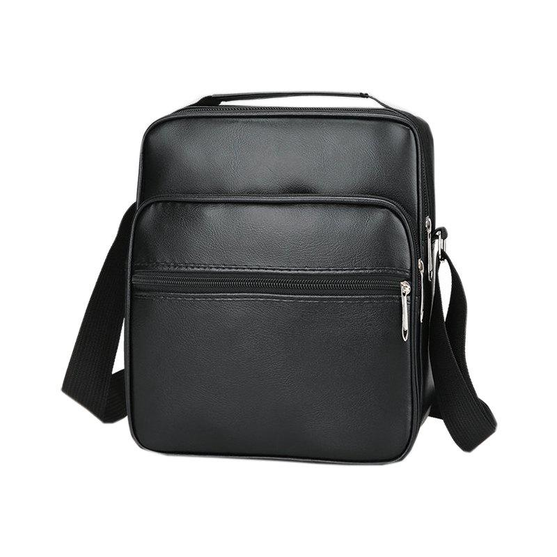 PU Leather Men's Shoulder Messenger Bag - BLACK