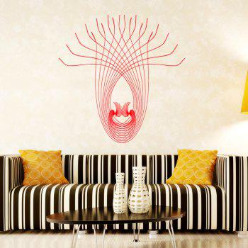 DSU WS0028 Peacock Line Abstrac Simple Art Wall Stickers - RED RED