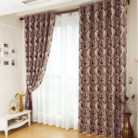 European Simple Style Jacquard Living Room Bedroom Dining Room Curtain - BROWN 2 X (57W×84L)