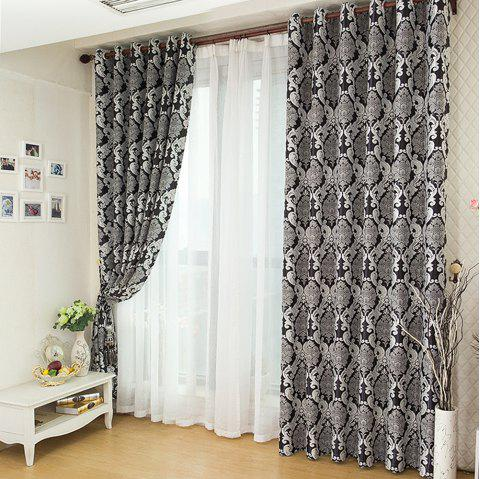 European Simple Style Jacquard Living Room Bedroom Dining Room Curtain - BLACK 2 X (57W×63L)