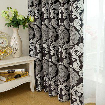 European Simple Style Jacquard Living Room Bedroom Dining Room Curtain - BLACK 2 X (72W×90L)