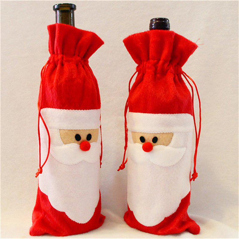 Santa Claus 1 Piece Red Wine Bottle Cover Bags Christmas Dinner Table Decoration Home Party  цена и фото