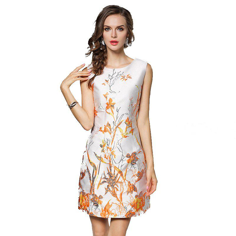 Autumn New Wsist Sleeveless Jacquard A Word Dress - APRICOT 2XL