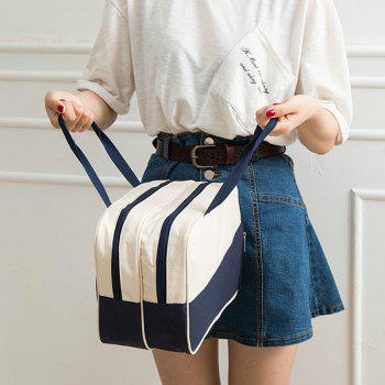Women's Handbag All Match Chic Patch Nylon Color Block Fashion Bag - CADETBLUE