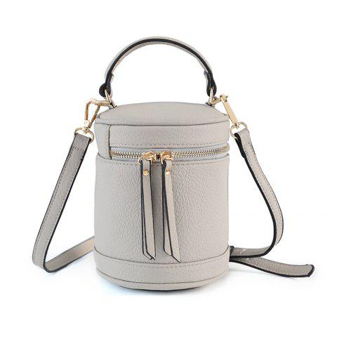 2017 New Female Bag Retro Cylinder Barrel Summer Cylindrical Bucket  Korean Mobile Messenger Shoulder Hand Bag - OYSTER HORIZONTAL