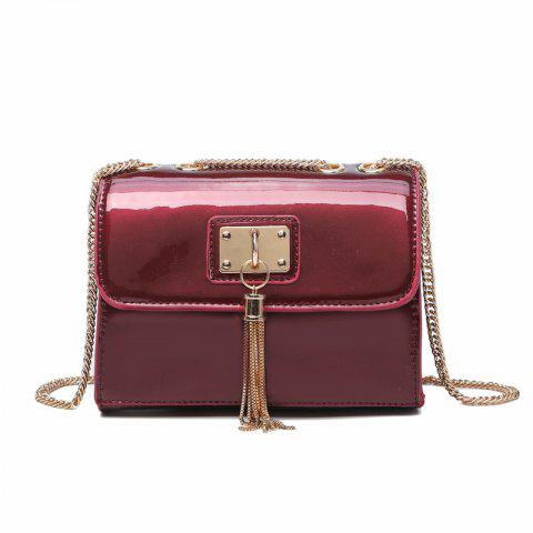 Fashionable Female Small Package Tassel Mini Bag Chain with One-Shoulder - RED