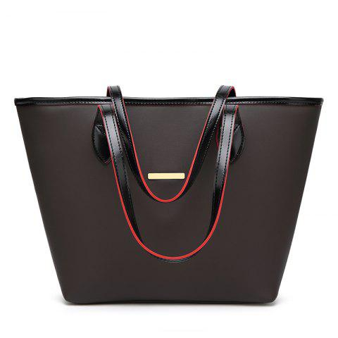 Fashion Simple Tote Bag Casual Handbag with A Large Bag - BLACK HORIZONTAL