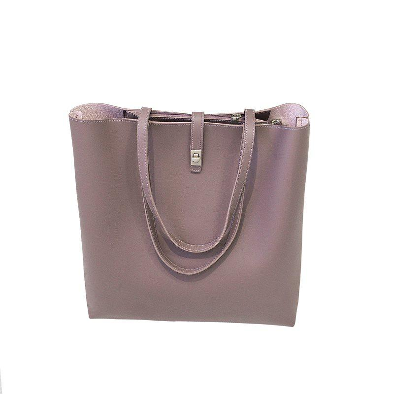 The New Model of 2017 Simple Women'S Bag with Large Capacity Casual Shoulder - PURPLE VERTICAL