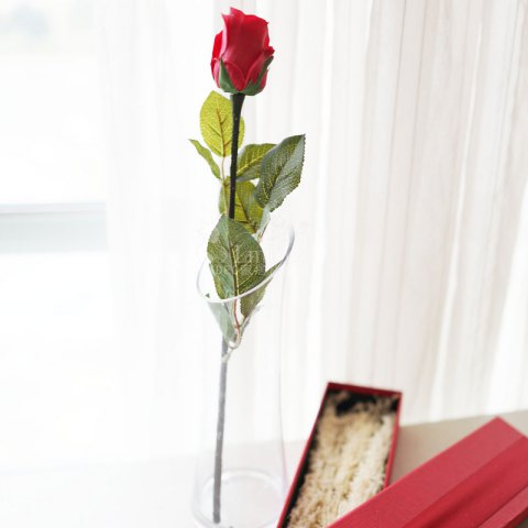 Lmdec FzhPu1701 Decorative Artificial Rose Touch Soft Fake Flower - 1 Head - RED