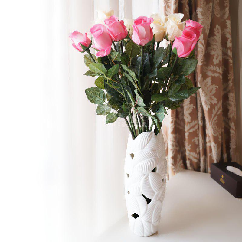Lmdec FzhPu1701 Decorative Artificial Rose Touch Soft Fake Flower - 1 Head - PINK