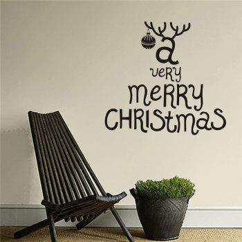 Antique  Removable Wall Stickers for Christmas Decoration - BLACK BLACK