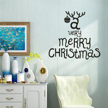 Antique  Removable Wall Stickers for Christmas Decoration - BLACK