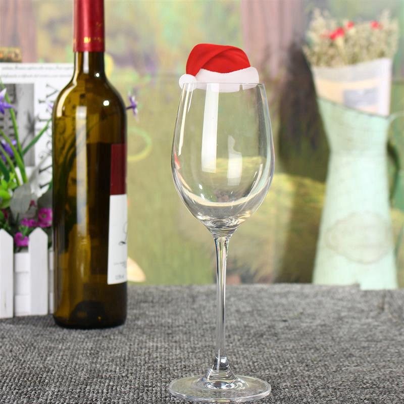 WS 10 Pcs/SET Table Place Cards Christmas Santa Hat Wine Glass Decoration 100pcs lot red rose table decoration place card wedding party decoration laser cut heart floral wine glass paper place cards