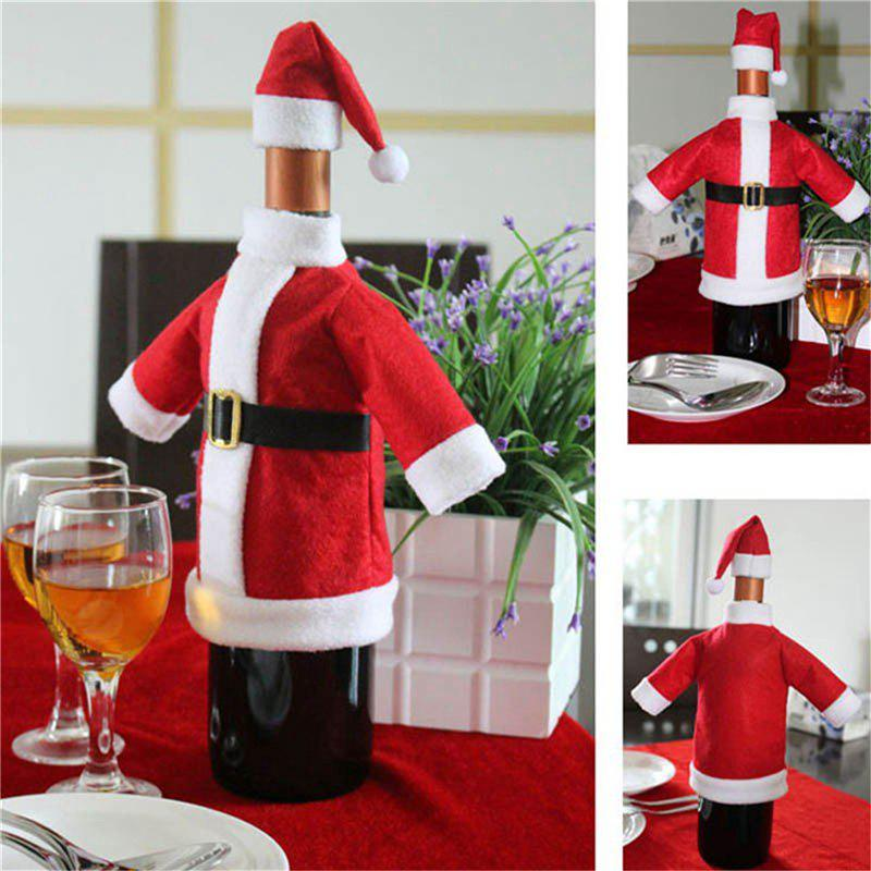 WS 2pcs/set lovely set of red wine bottle covers Christmas dinner table decorations clothes and hats home decorations Christmas decorations 232545501